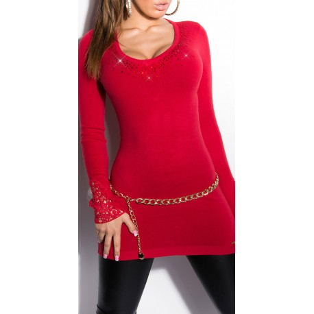 Pull - Robe avec Strass / Rouge