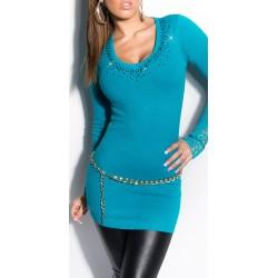Pull - Robe avec Strass / Bleu turquoise